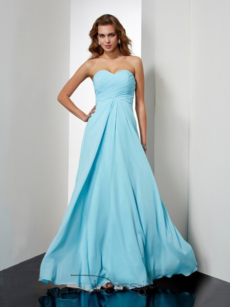 A-Line/Princess Sleeveless Sweetheart Beading Chiffon Floor-Length Dress,