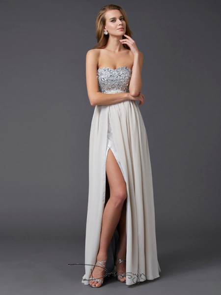A-Line/Princess Sleeveless Sweetheart Rhinestone Chiffon Floor-Length Dress