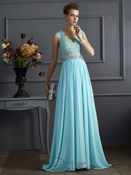 A-Line/Princess Sleeveless Straps Beading Lace Chiffon Long Dress