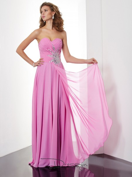 A-Line/Princess Sleeveless Sweetheart Ruched Chiffon Floor-Length Dress