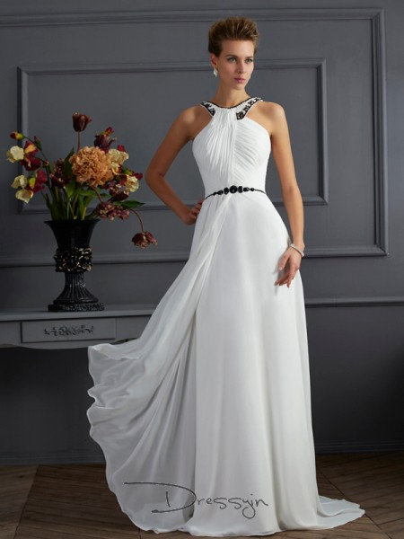 A-Line/Princess Sleeveless High Neck Beading Chiffon Long Dress
