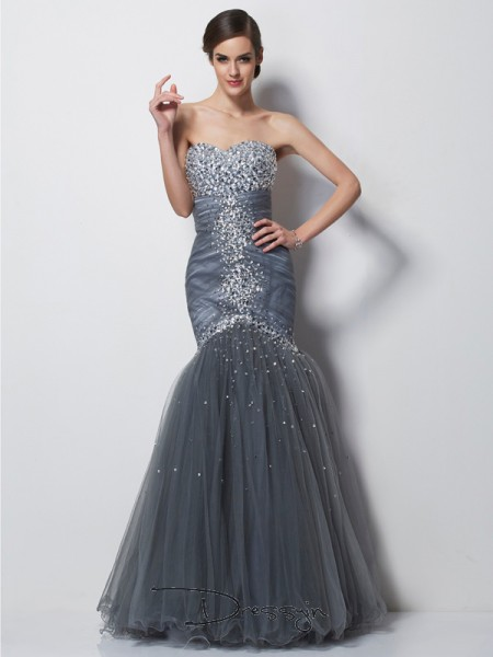 Trumpet/Mermaid Sleeveless Sweetheart Beading Net Satin Floor-Length Dress