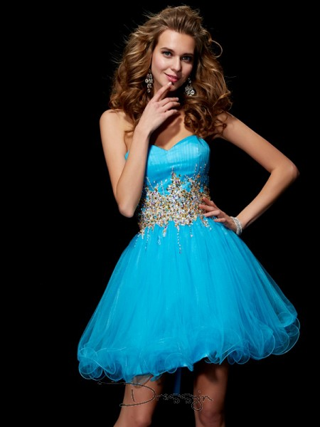 A-Line/Princess Sleeveless Sweetheart Beading Net Short Dress
