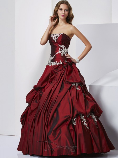 Ball Gown Sleeveless Sweetheart Beading Taffeta Floor-Length Prom