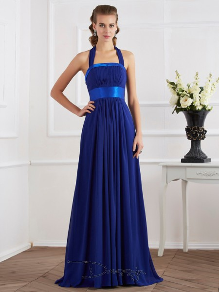 A-Line/Princess Sleeveless Halter Ruched Chiffon Floor-Length Dress