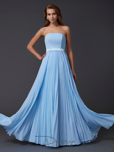 A-Line/Princess Sleeveless Strapless Ruched Chiffon Floor-Length Dress
