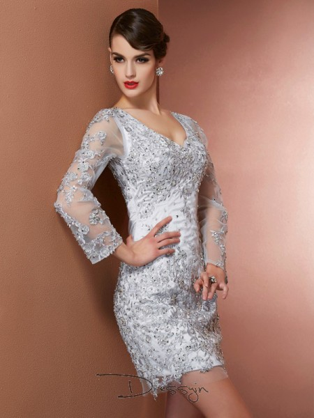 Sheath/Column Long Sleeves V-neck Beading Applique Elastic Woven Satin Short Mother Of the Bride Dress