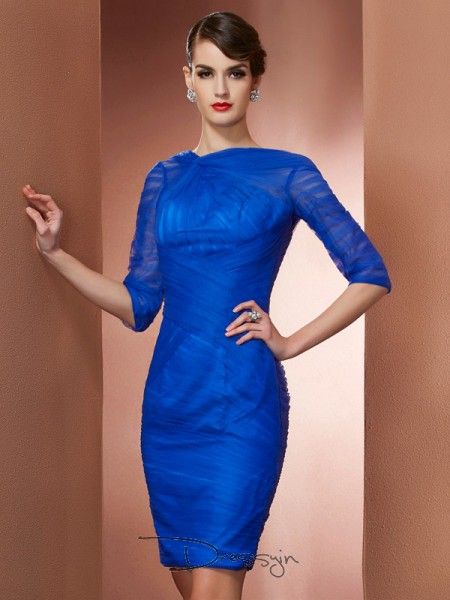 Sheath/Column 1/2 Sleeves High Neck Pleats Elastic Woven Satin Net Short Dress