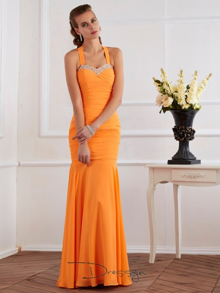 Trumpet/Mermaid Sleeveless Halter Beading Chiffon Floor-Length Dress