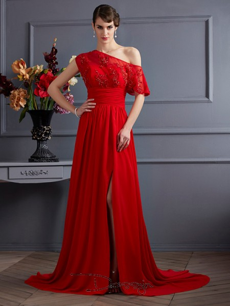 A-Line/Princess Sleeveless One-Shoulder Applique Chiffon Court Train Dress