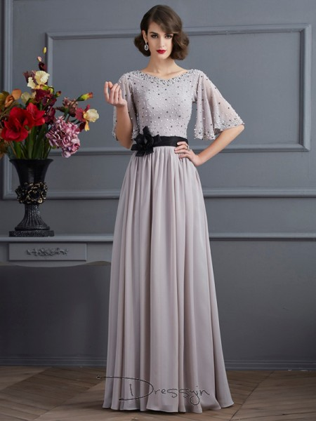 A-Line/Princess 1/2 Sleeves High Neck Beading Chiffon Floor-Length Dress