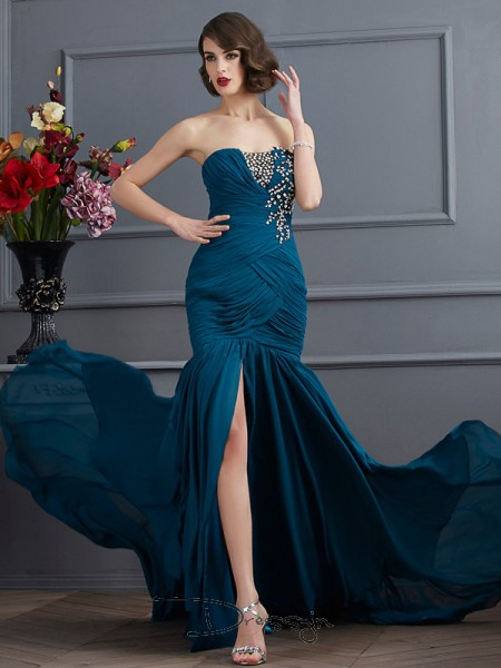 Trumpet/Mermaid Sleeveless Strapless Beading Applique Chiffon Long Dress