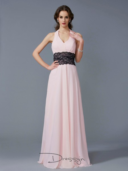 A-Line/Princess Sleeveless Halter Applique Chiffon Floor-Length Dress