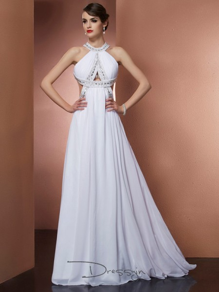 A-Line/Princess Sleeveless Bateau Beading Chiffon Long Dress