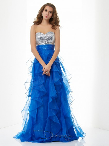 A-Line/Princess Sleeveless Sweetheart Paillette Satin Tulle Floor-Length Dress