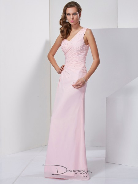 Sheath/Column Sleeveless One-Shoulder Beading Chiffon Floor-Length Dress