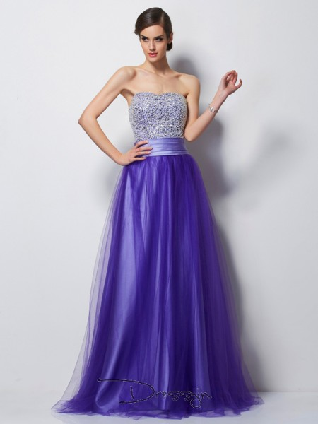 A-Line/Princess Sleeveless Sweetheart Beading Net Satin Floor-Length Dress
