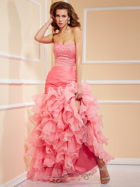 Trumpet/Mermaid Sleeveless Sweetheart Ruffles Beading Organza Asymmetrical Dress