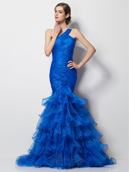 Trumpet/Mermaid Sleeveless One-Shoulder Pleats Tulle Long Dress