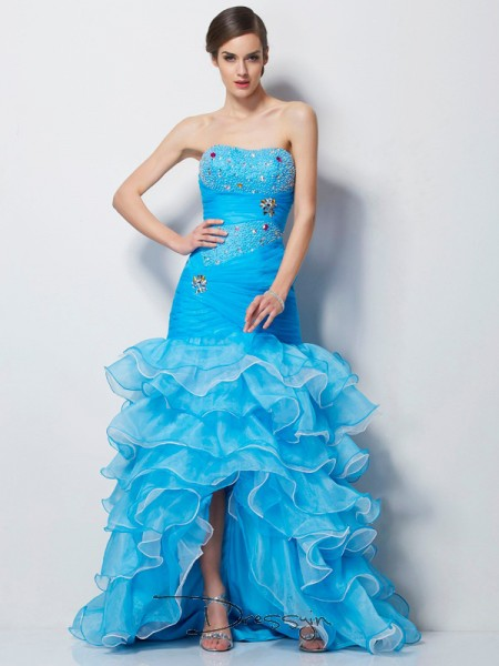 Trumpet/Mermaid Sleeveless Sweetheart Beading Tulle Asymmetrical Dress