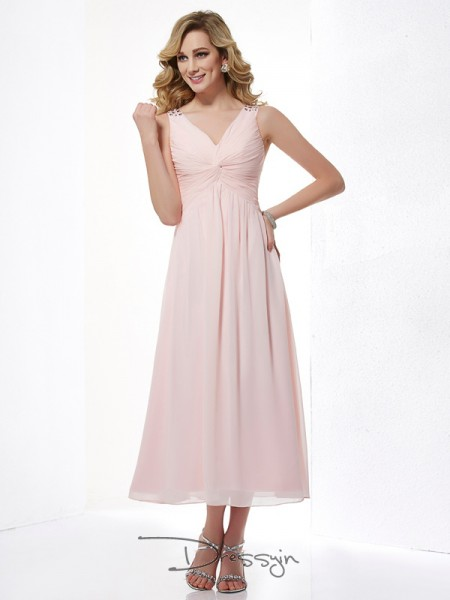 A-Line/Princess Sleeveless V-neck Pleats Beading Chiffon Tea-Length Dress