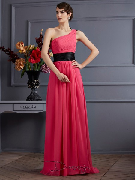 A-Line/Princess Sleeveless One-Shoulder Pleats Chiffon Long Dress