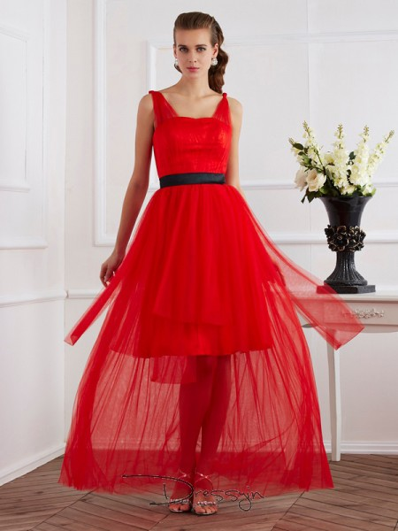 A-Line/Princess Sleeveless Straps Pleats Elastic Woven Satin Ankle-Length Dress