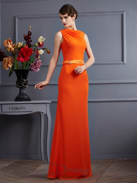 Sheath/Column Sleeveless High Neck Sash/Ribbon/Belt Chiffon Floor-Length Dress
