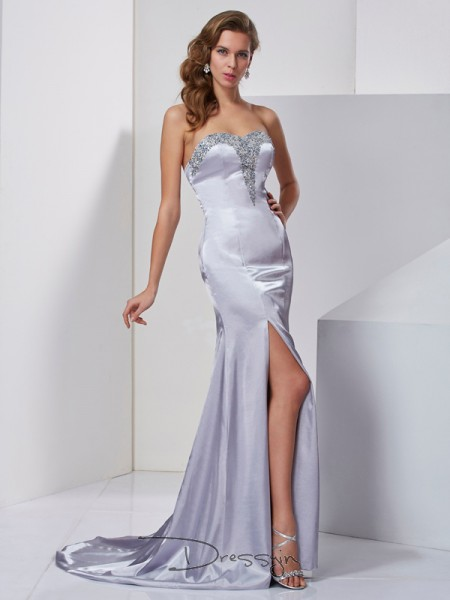 A-Line/Princess Sleeveless Sweetheart Beading Elastic Woven Satin Long Dress