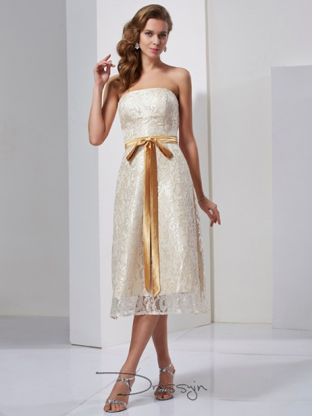 Sheath/Column Sleeveless Strapless Sash/Ribbon/Belt Satin Knee-Length Dress