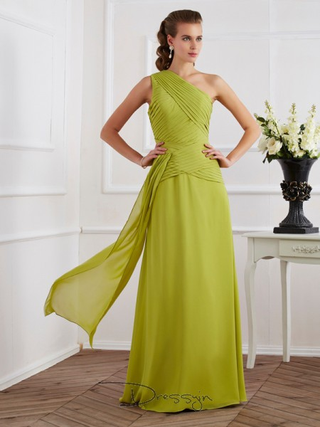 A-Line/Princess Sleeveless One-Shoulder Pleats Chiffon Floor-Length Dress