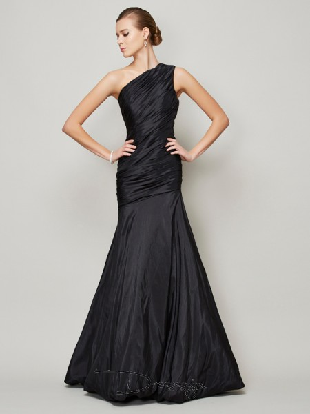 A-Line/Princess Sleeveless One-Shoulder Pleats Taffeta Floor-Length Dress
