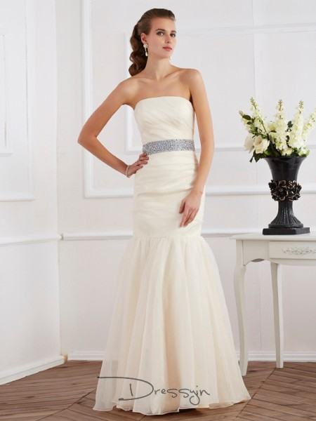 Trumpet/Mermaid Sleeveless Strapless Sash/Ribbon/Belt Organza Floor-Length Dress