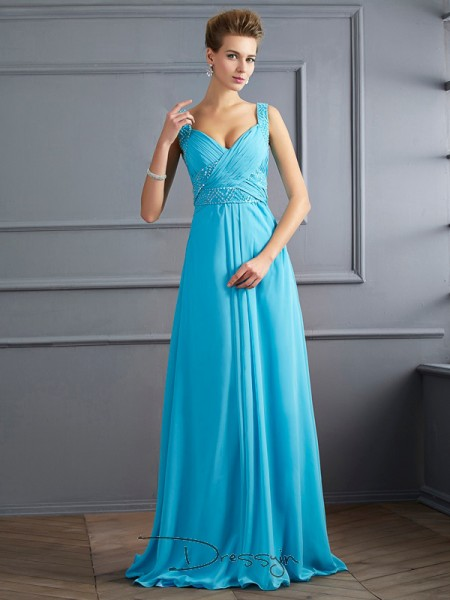 A-Line/Princess Sleeveless Straps Pleats Chiffon Floor-Length Dress