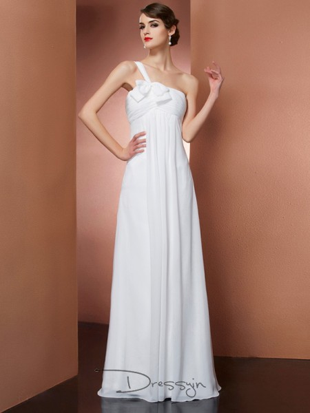 A-Line/Princess Sleeveless One-Shoulder Bowknot Chiffon Floor-Length Dress