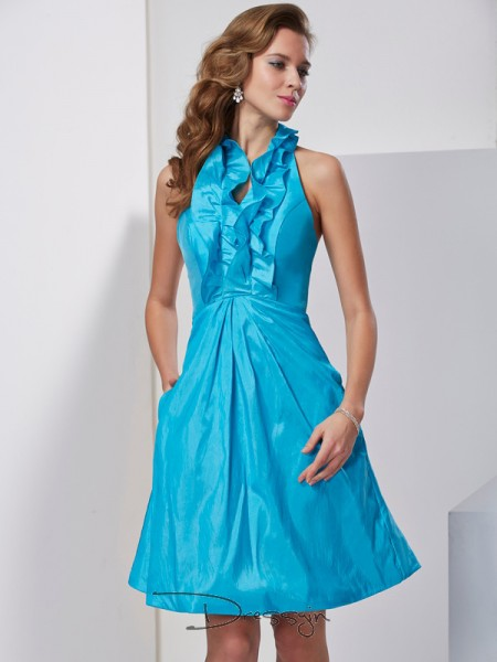 A-Line/Princess Sleeveless Halter Ruffles Taffeta Knee-Length Dress