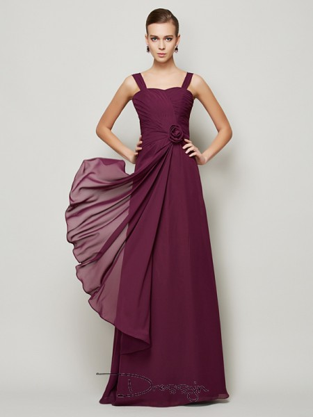 A-Line/Princess Sleeveless Straps Hand-Made Flower Chiffon Floor-Length Dress