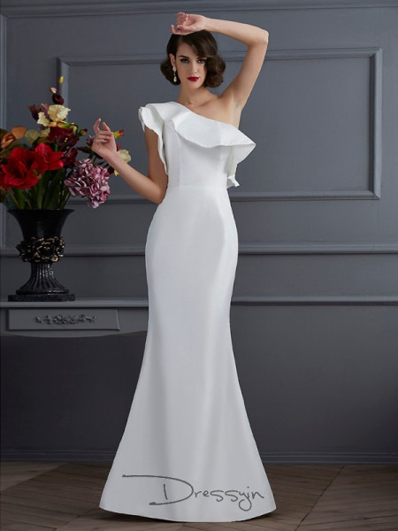 Trumpet/Mermaid Sleeveless One-Shoulder Ruffles Taffeta Floor-Length Dress