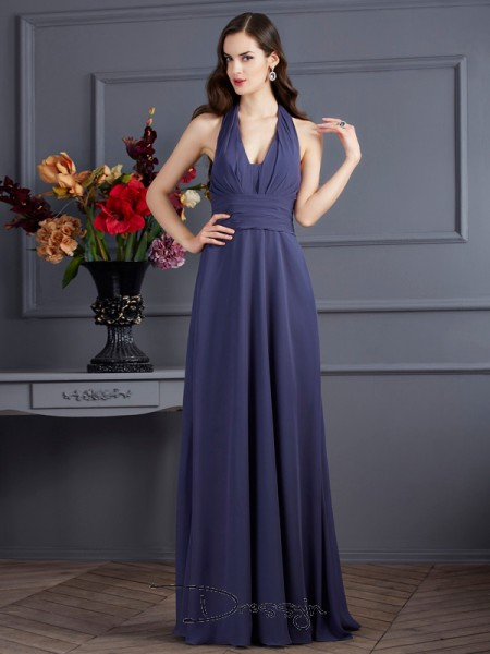 A-Line/Princess Sleeveless Halter Pleats Chiffon Floor-Length Dress