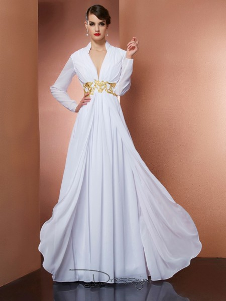 A-Line/Princess Long Sleeves V-neck Chiffon Floor-Length Dress
