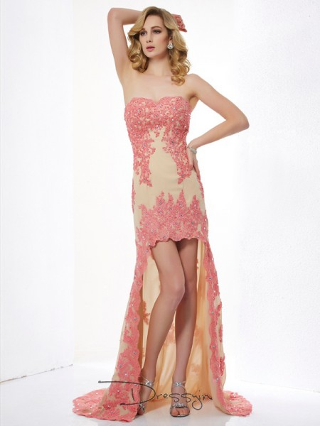 A-Line/Princess Sleeveless Sweetheart Applique Lace Asymmetrical Dress