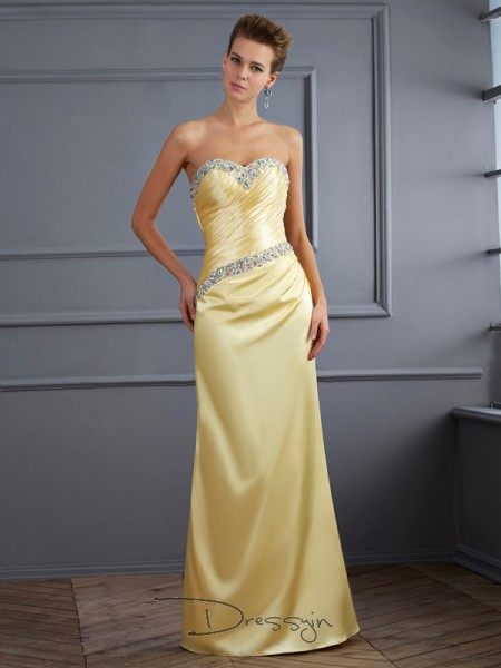 Trumpet/Mermaid Sleeveless Sweetheart Beading Elastic Woven Satin Floor-Length Dress