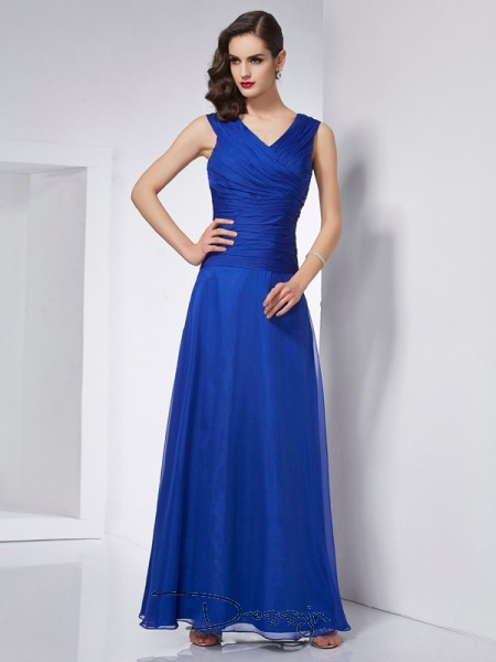 A-Line/Princess Sleeveless V-neck Pleats Chiffon Ankle-Length Dress