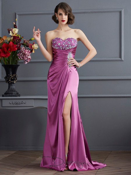 Sheath/Column Sleeveless Sweetheart Beading Elastic Woven Satin Long Dress