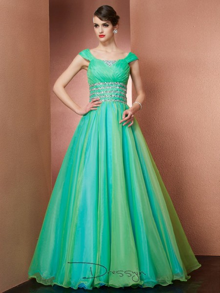 Ball Gown Sleeveless Off-the-Shoulder Beading Satin Floor-Length Dress