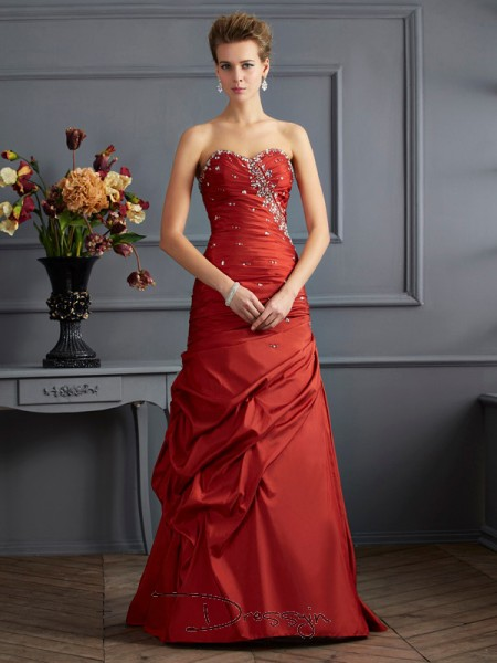 Trumpet/Mermaid Sleeveless Sweetheart Beading Taffeta Floor-Length Dress
