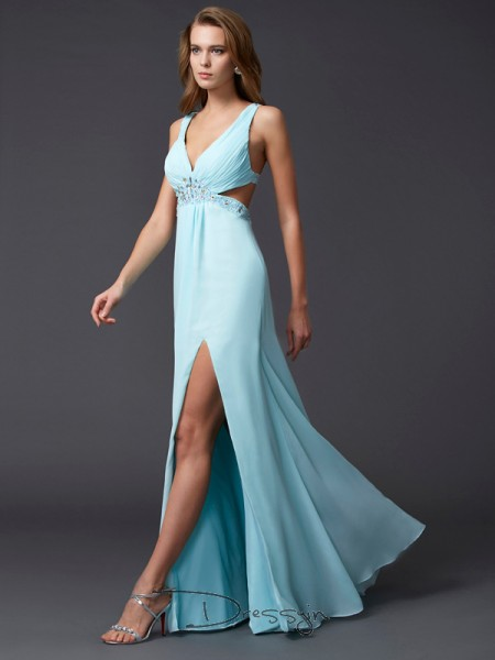 Sheath/Column Sleeveless V-neck Beading Chiffon Floor-Length Dress