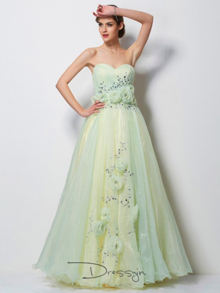 A-Line/Princess Sleeveless Sweetheart Hand-Made Flower Beading Satin Tulle Floor-Length Dress