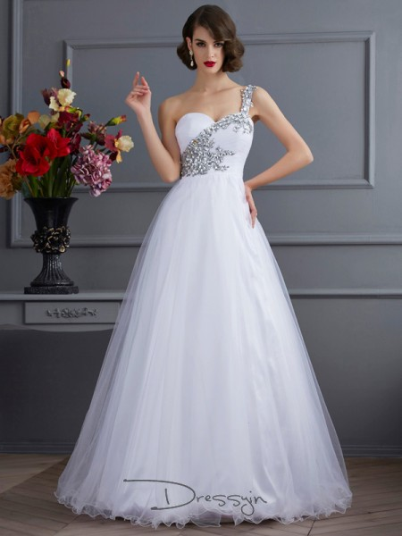 Ball Gown Sleeveless One-Shoulder Beading Applique Elastic Woven Satin Floor-Length Dress