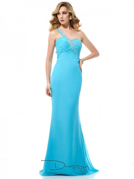 Trumpet/Mermaid Sleeveless One-Shoulder Beading Chiffon Long Dress